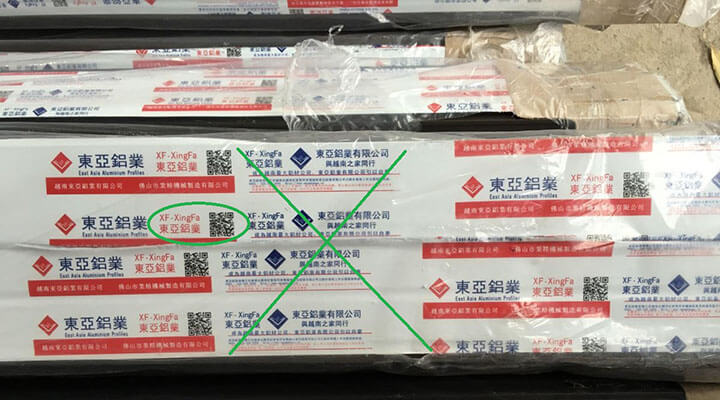 Hình ảnh tem nhôm XF-XingFa giả nhái trên thị trường hiện nay