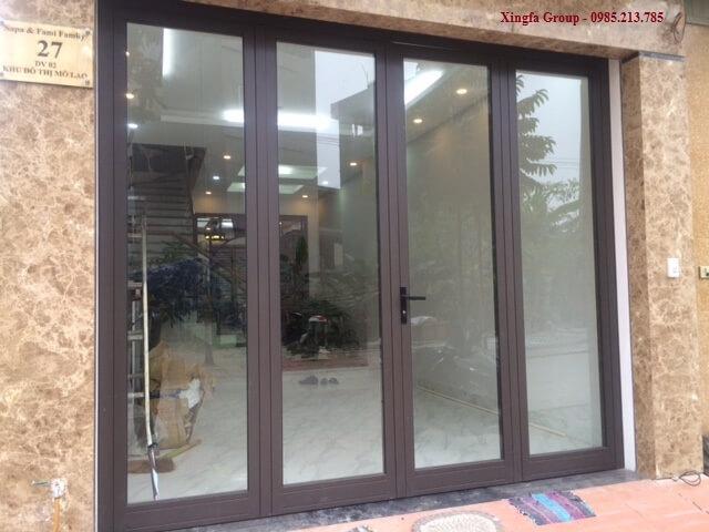 Cửa nhôm Xingfa mầu nâu sần ánh kim (mầu cafe)