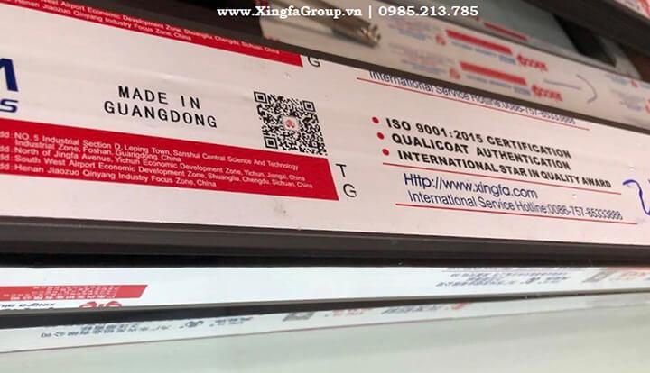 tem nhôm XINGFA mầu đỏ (made in Guangdong) nhập khẩu chính hãng 100% mới nhất 2019