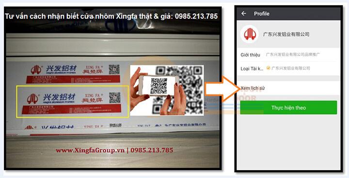 Phần mềm Wechat quét mã Code QR nhôm Xingfa nhập khẩu chính hãng 100%