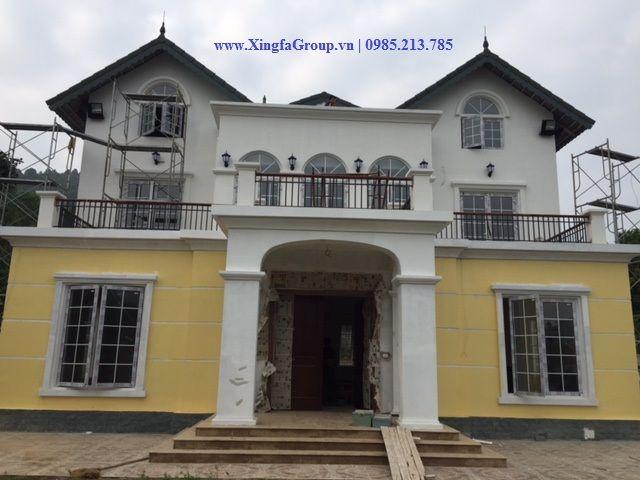 Thi công biệt thự cửa nhôm Xingfa nhập khẩu tại nhà anh Thanh ở Sóc Sơn