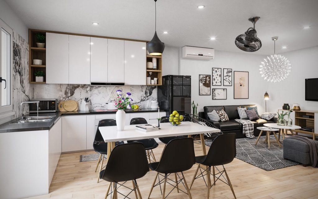 Thiết kế phòng bếp và phòng khách chung